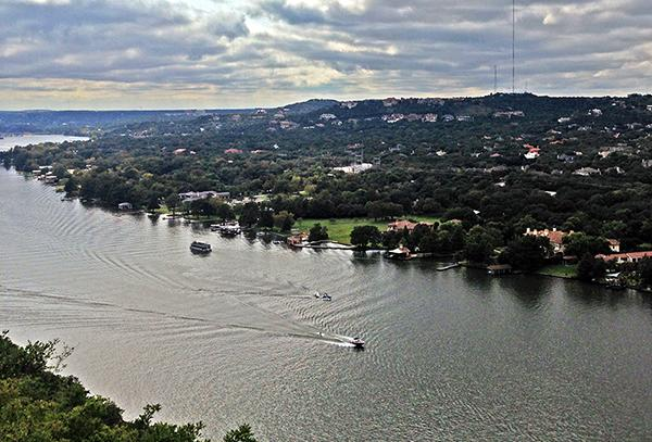 View of Westlake Hills and Colorado River from Mount Bonnell