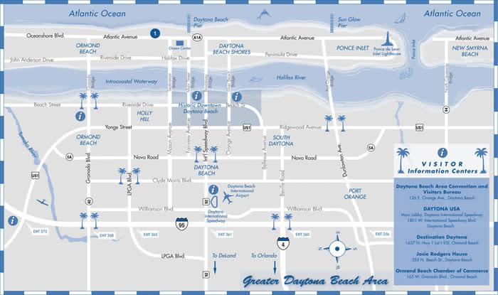 Area map of the Daytona Beach area