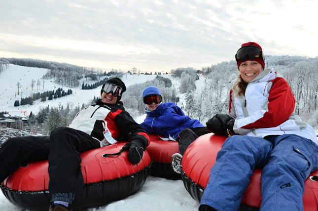People tubing at Seven Springs Mountain Resort in Laurel Highlands, PA