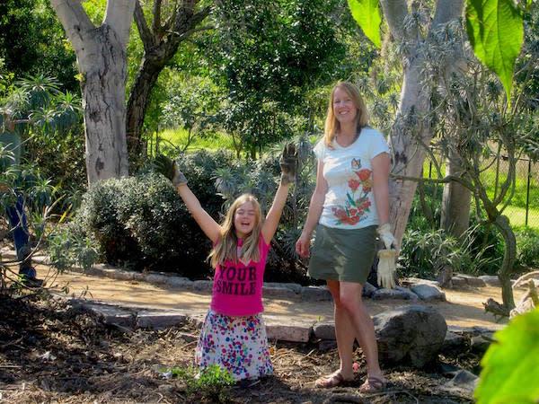 Debbie and her daughter volunteering