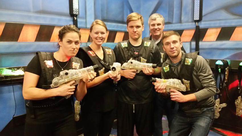 Knoblauchs play laser tag at Roseland Bowl Family Fun Center