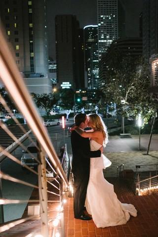 Bride Groom Kissing Downtown Stairway