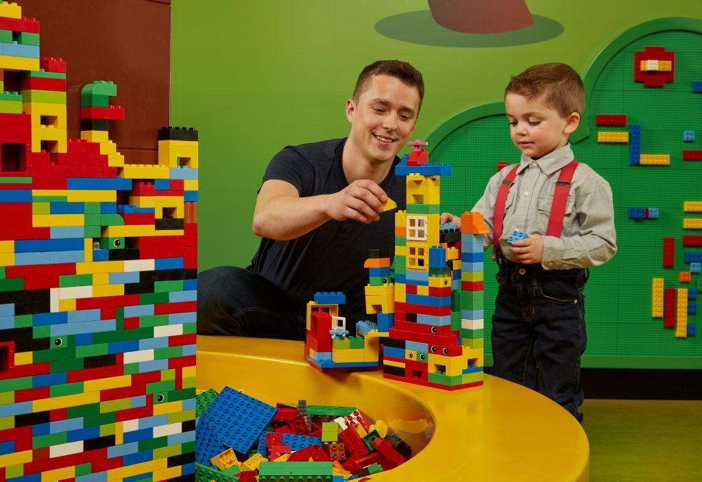 Legoland building with child