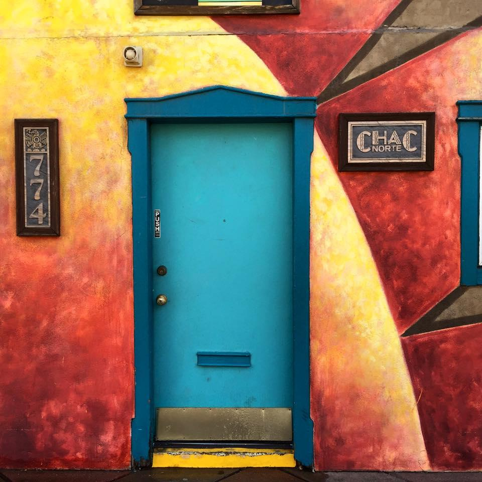 Colorful front door at the Art District on Santa Fe