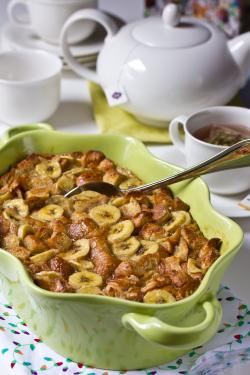 Banana Bread Pudding made with Croissants | ExploreAsheville.com