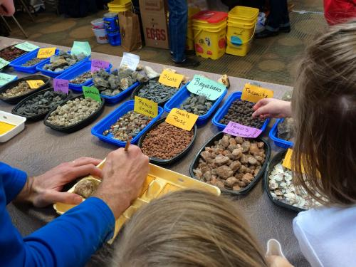 Kids at the Indian Mounds Gem and Mineral Show in Grand Rapids