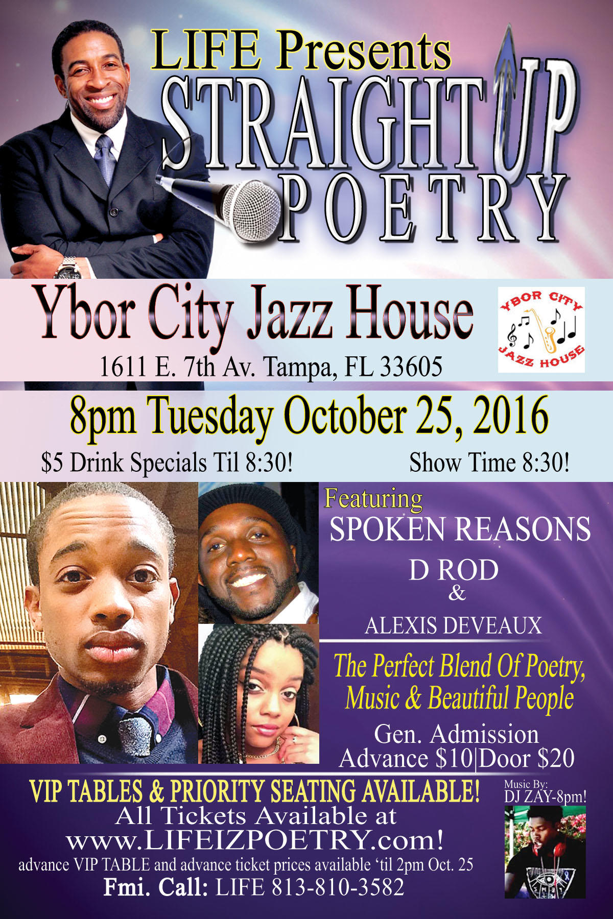 LIFE Presents Straight UP Poetry at the Ybor City Jazz House!