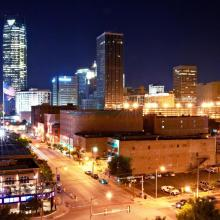 Skyline at Night from Bricktown