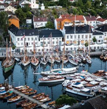Risør harbour filled with wooden boats