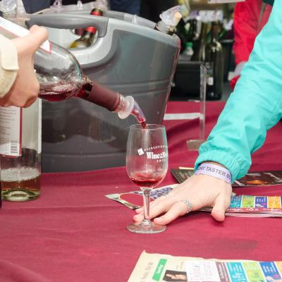 Pouring a taste at Wine in the Woods 2016
