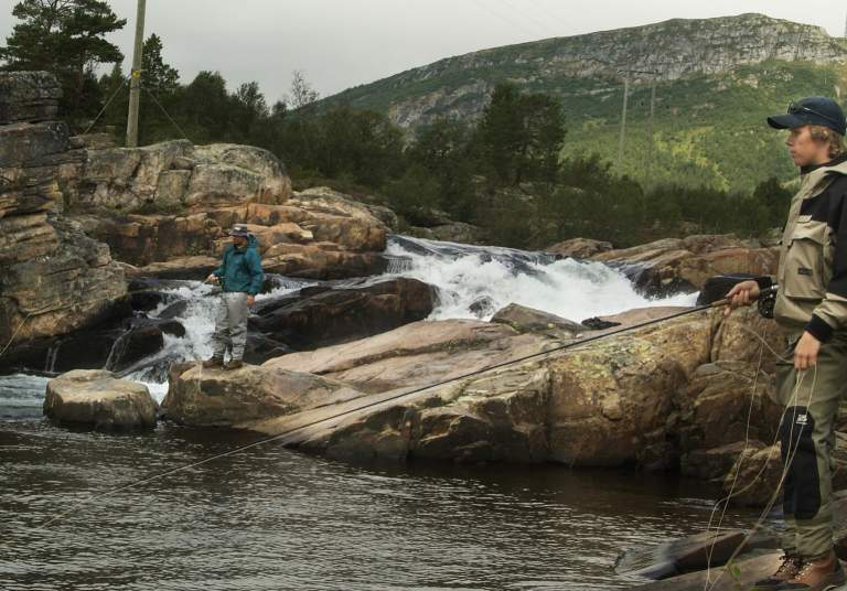 Fly fishing in the river Otra in Setesdal