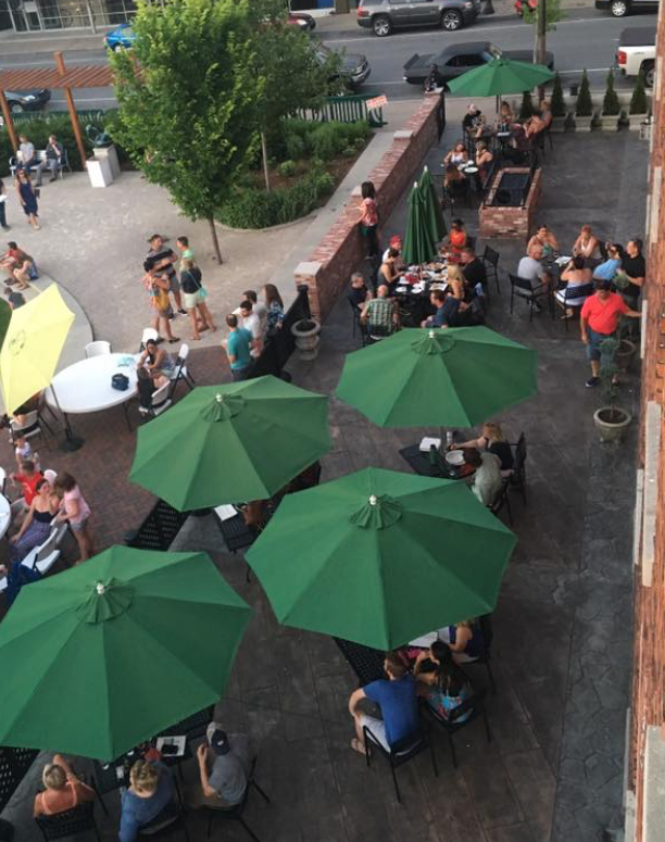 River City Winery balcony with umbrellas view