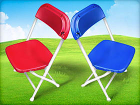 red blue kids folding chair for rent