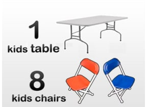 1 4ft Rectangle Kids Table & 8 Kids Chairs