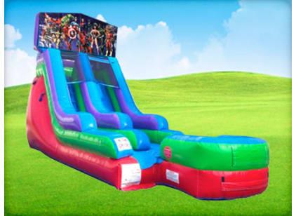 15ft Superheroes Retro Wet/Dry Slide