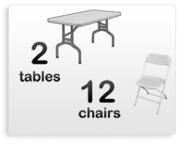 2 6ft Adult Rectangle Tables 12 White Chairs