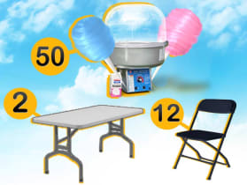 2 rectangular tables 12 chairs and a cotton candy machine.