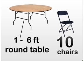 1 6ft Adult Round Table, 10 Black Chairs