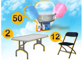 Cotton Candy Machine, 2 Rectangle Tables & 12 Chairs Package