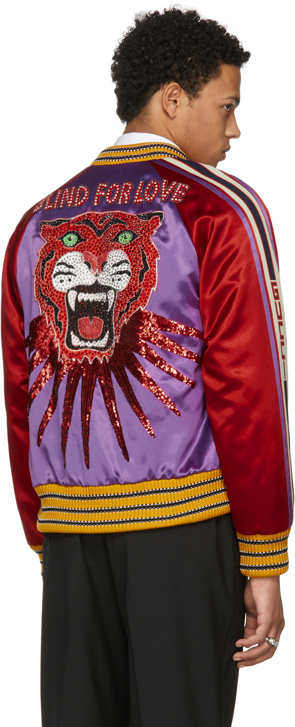 Gucci Purple 'Blind For Love' Tiger Bomber Jacket