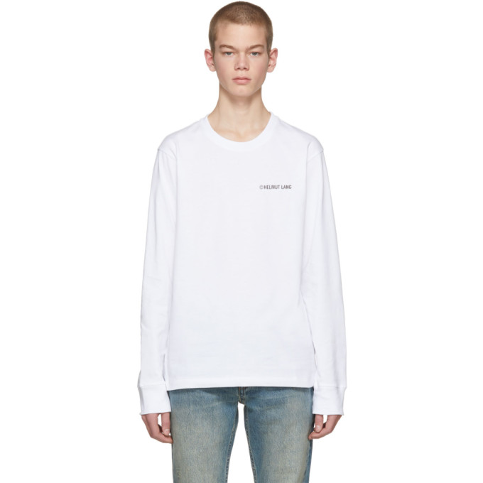 Exclusive White Long Sleeve Logo T-Shirt Helmut Lang Under 70 Dollars Ev0ML8