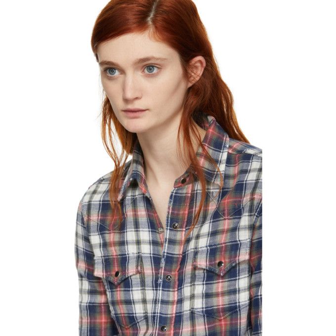 Navy and Red Western Plaid Shirt Saint Laurent Cheap Sale For Sale Free Shipping Sast Buy Cheap Best Sale New Release Reliable Cheap Price ekPaSHB