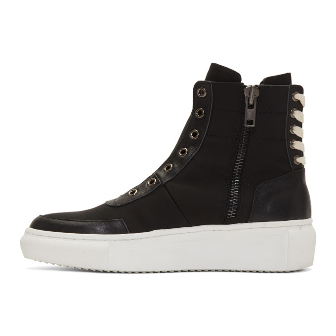 D by D Black Back String Mid-Top Sneakers XkI0lCvVo