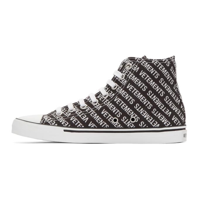 Printed Canvas High-top Sneakers - BlackVETEMENTS MJNLg