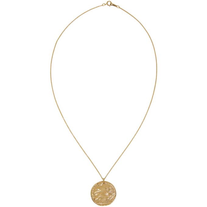 Gold Il Leone Coin Necklace ALIGHIERI EJF8j