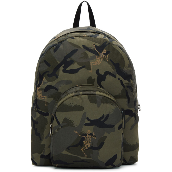 Green Small Dancing Skeletons Camouflage Backpack Alexander McQueen Cheap Sale 2018 New yQZUaVE