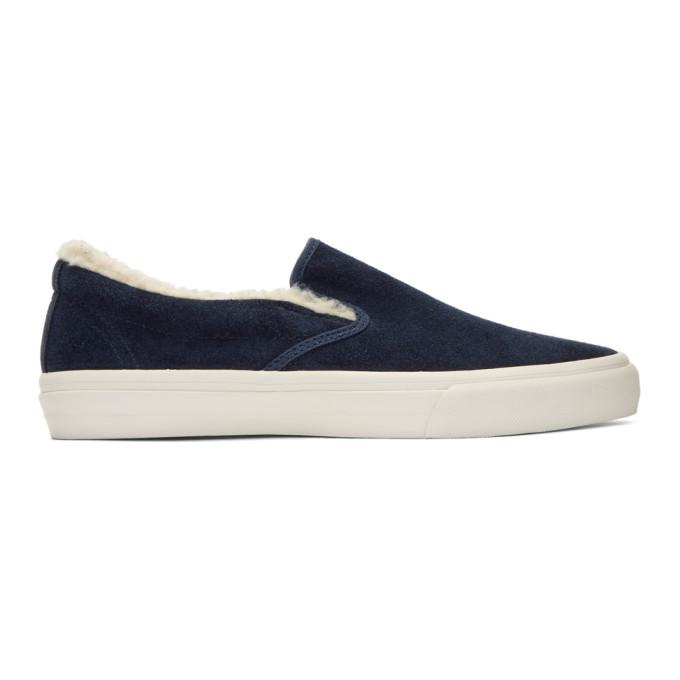 JUNYA WATANABE Navy Suede Slip-On Sneakers rOPzC0Hn