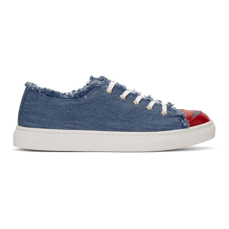 Charlotte Olympia Blue Denim 'Kiss Me' Sneakers 5J4khpi