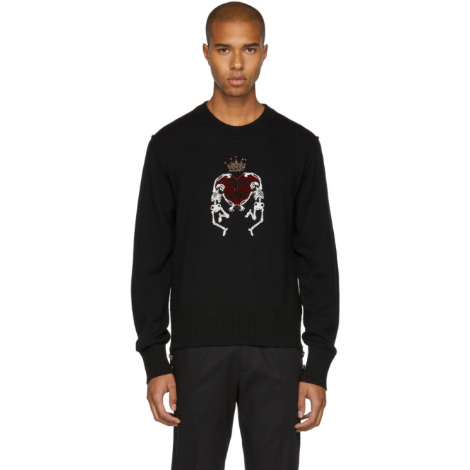 DOLCE & GABBANA Dancing Skeletons Virgin Wool Sweater in Black