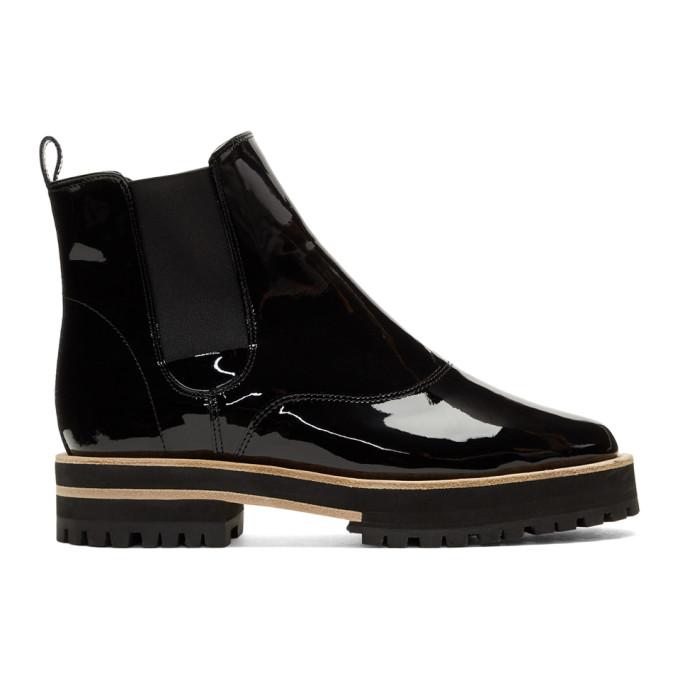 Repetto Black Patent Graham Lug Sole Chelsea Boots