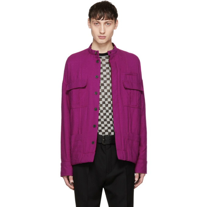 Pink Wool Double Pocket Jacket by Haider Ackermann
