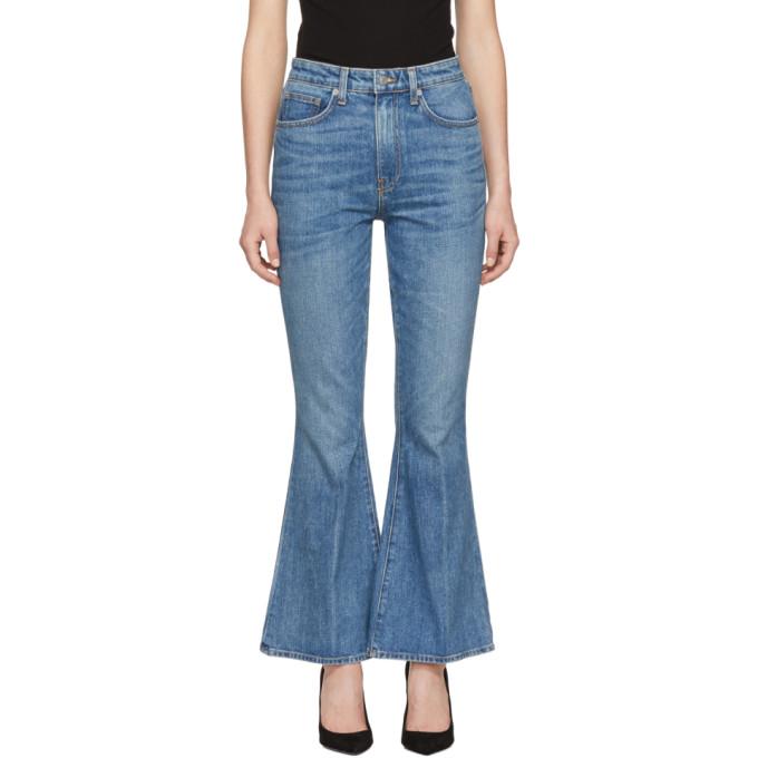 BROCK COLLECTION Blue Belle Cropped Flare Jeans in Drk Vintage