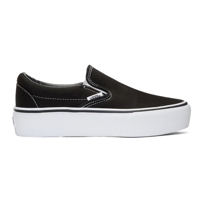 Black Classic Platform Slip-On Sneakers, Black/ White