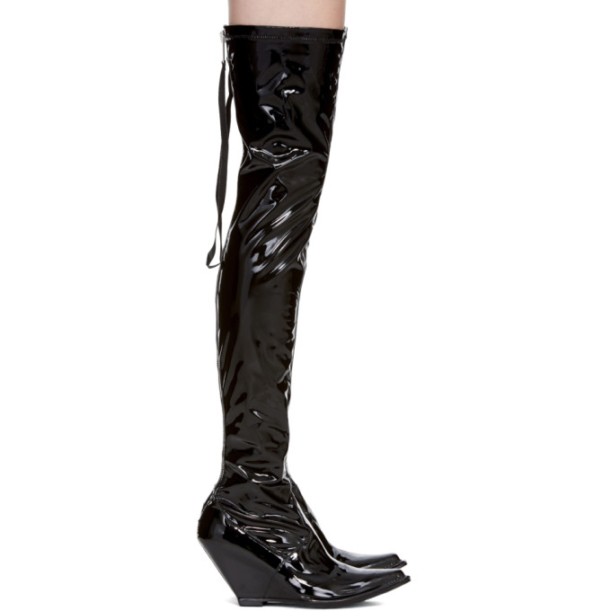 7a9f6559b46 UNRAVEL BLACK LATEX ZIP OVER-THE-KNEE BOOT