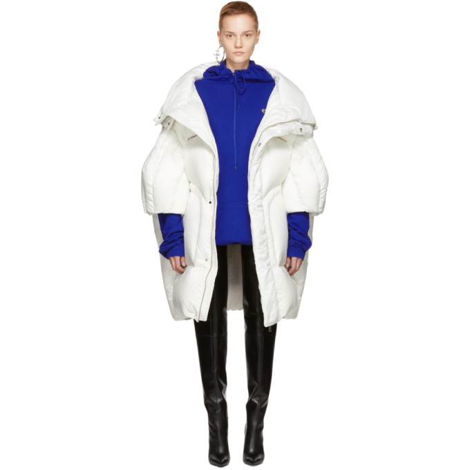 White Long Quilted Puffer Jacket by Chen Peng