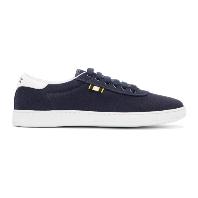 APRIX Leather-Trimmed Suede Sneakers in Navy/White