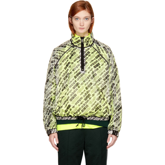 ADIDAS ORIGINALS BY ALEXANDER WANG Reversible White & Yellow Aw Windbreaker Jacket