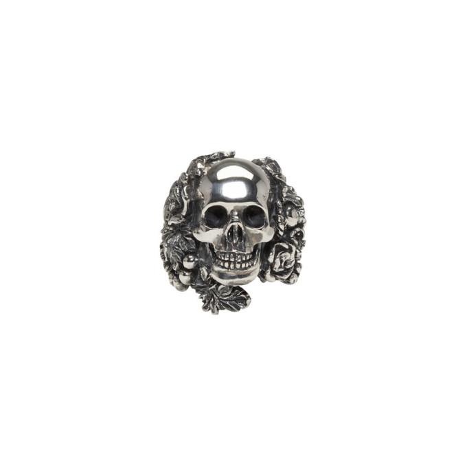 UGO CACCIATORI Skull Foliage Silver Ring