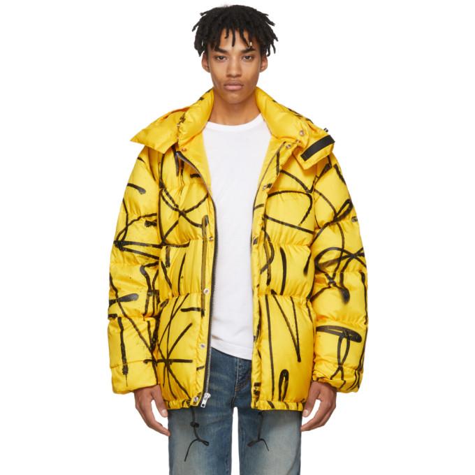 Yellow Down Saber Graffiti Puffer Jacket