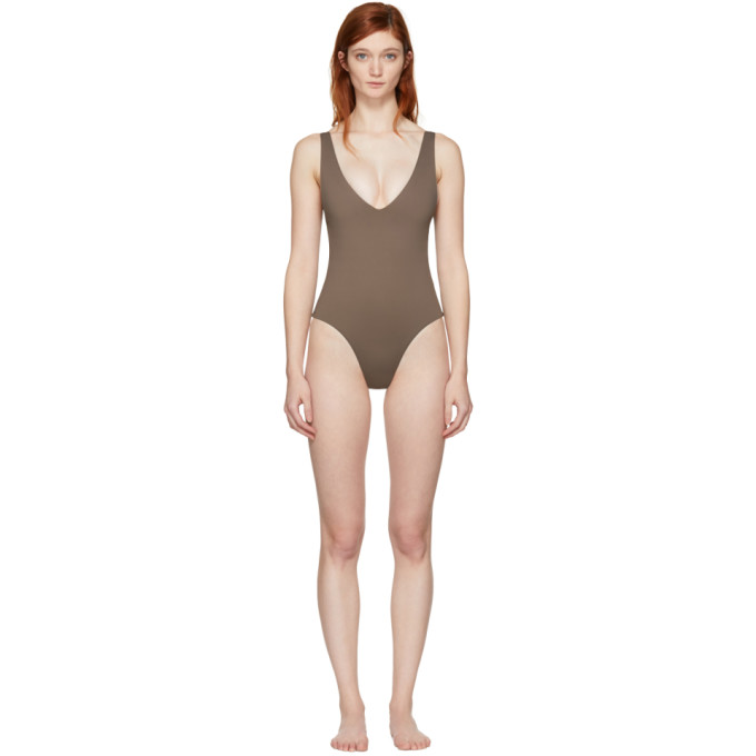 HER LINE BROWN ESTER ONE-PIECE SWIMSUIT