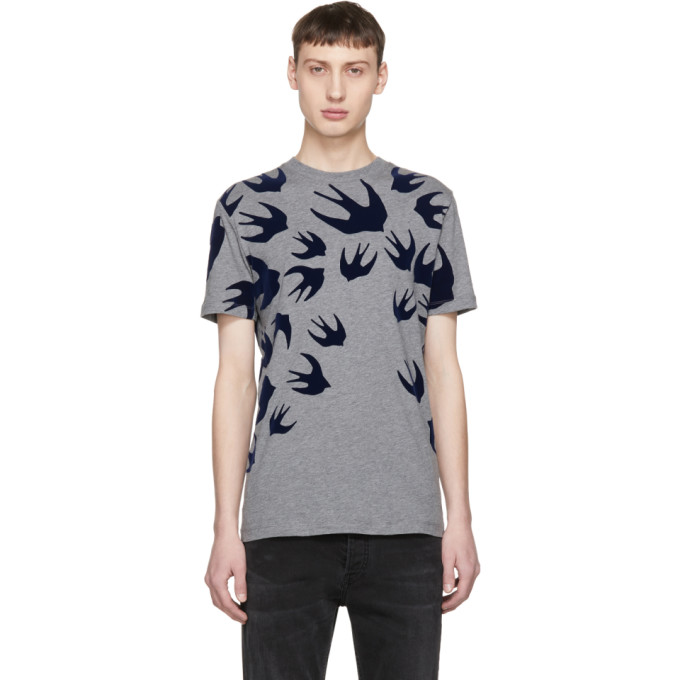 Grey Swallow Signature T Shirt by Mcq Alexander Mcqueen
