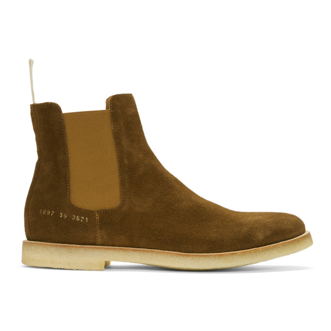Common Projects Suede Chelsea Boots In 3621 Brown