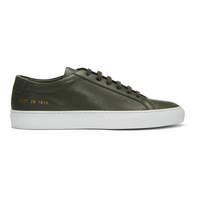Green and White Original Achilles Low Premium Sneakers Common Projects
