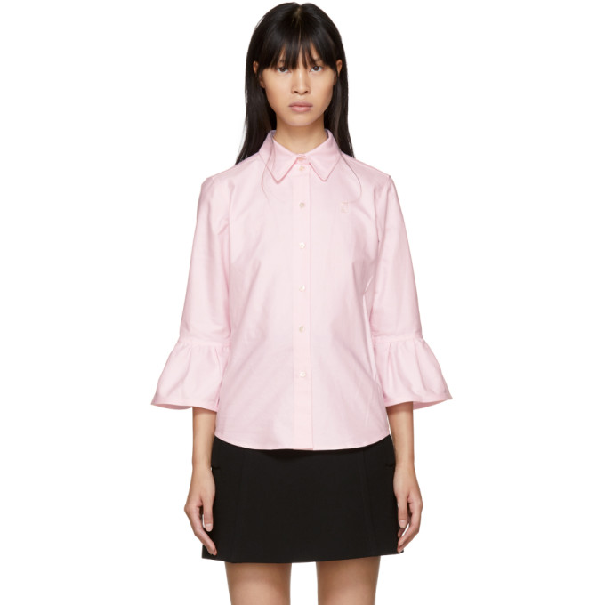 Pink Ruffle Sleeves Shirt