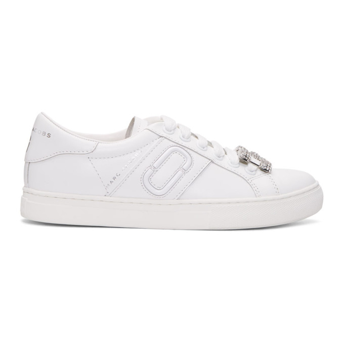 Empire Leather Sneakers With Embellishment in 100 White
