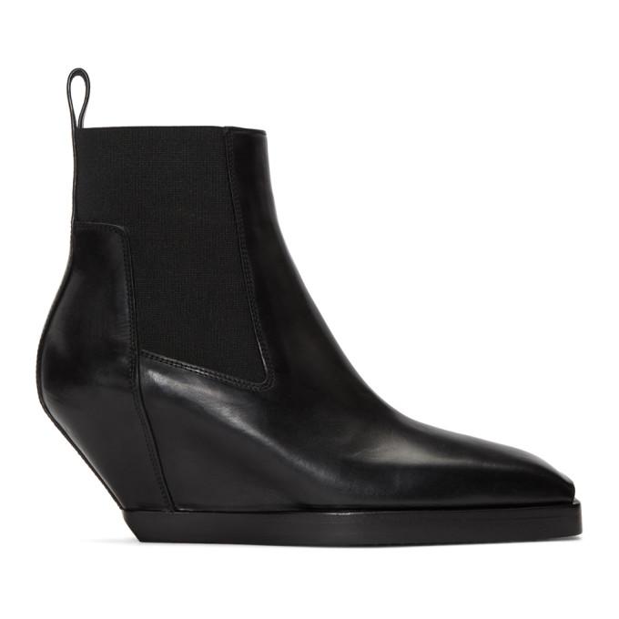 Rick Owens Black Elastic Sliver Boots in 09 Black